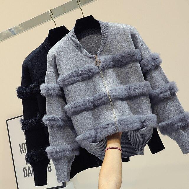 Chic Rabbit  Fur Patchwork Warm Knitted Jacket Jersey For Women Zipper Design Sweaters Cardigan New Elegant Female Knitting Coat