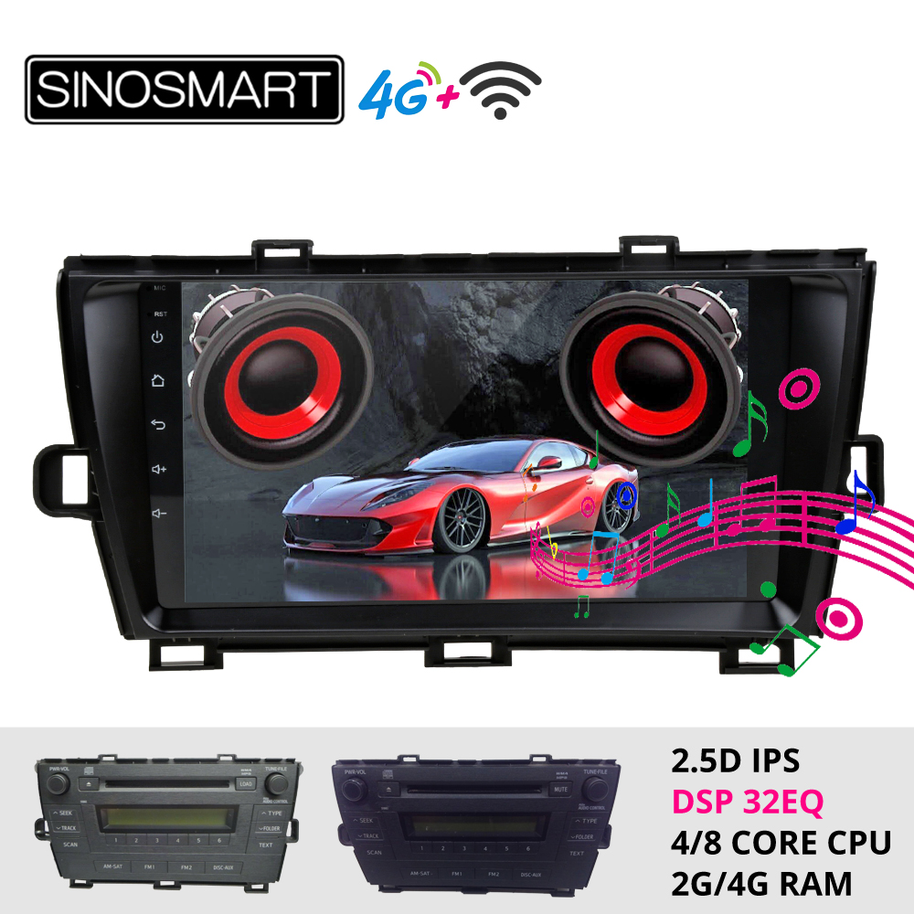 Sinosmart Android 8.1 Car For Toyota Prius 2009 2010 2011 GPS Navigation Radio 2din 2.5D IPS/QLED Screen