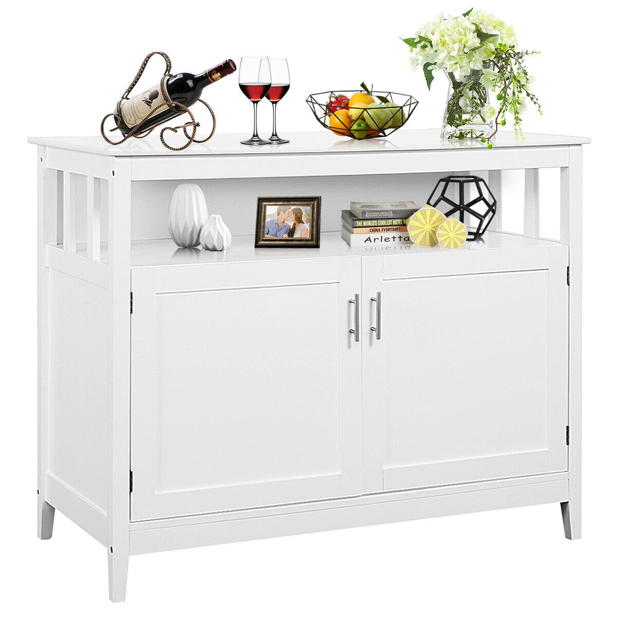 Us 169 19 Costway Modern Kitchen Storage Cabinet Buffet Server Table Sideboard Dining Wood White On Aliexpress