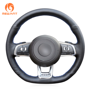 Image 4 - MEWANT Black Genuine Leather Hand Sew Steering Wheel Cover for Volkswagen VW Golf 7 GTI T Roc Passat Variant (R Line) Up! GTI