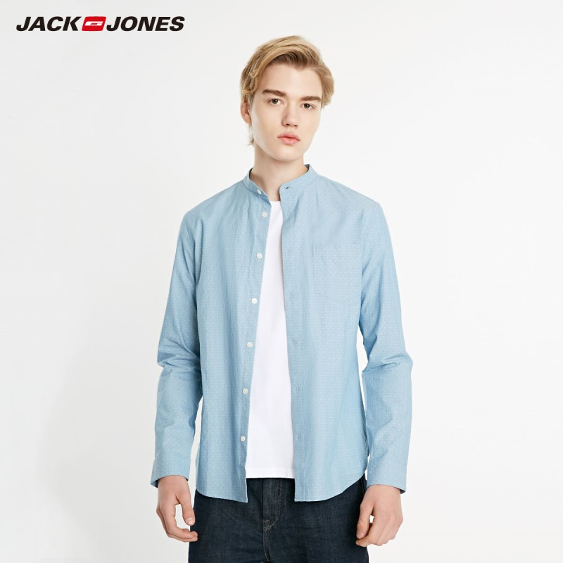 JackJones Men's 100% Cotton Basic Slim Fit Woven Stand-up Collar Long-sleeved Shirt| 219105573