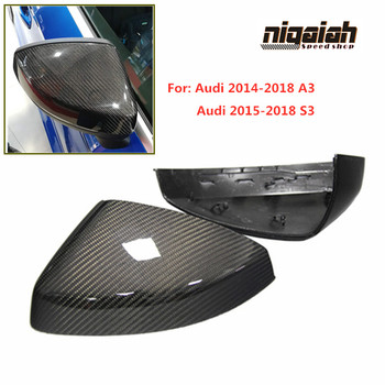 Carbon Fiber A3 Side Mirror Covers For Audi A3 S3 8V 2014-2018 Rear View Mirror Caps 1:1 Original Replacement Side Lane Assist