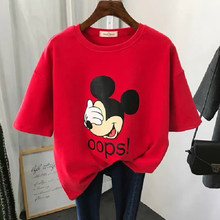 Women kawaii style mickey mouse printed Tshirt Streetwear Plus Size Loose Female tops tee girl Harajuku Clothes Short Sleeve(China)