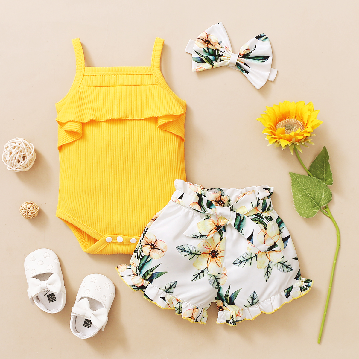 3Pcs Newborn Baby Girls Summer Clothes Cute Beach Boho Strap Ruffle Romper Floral Shorts Toddler Outfit Baby Girls Clothing 2