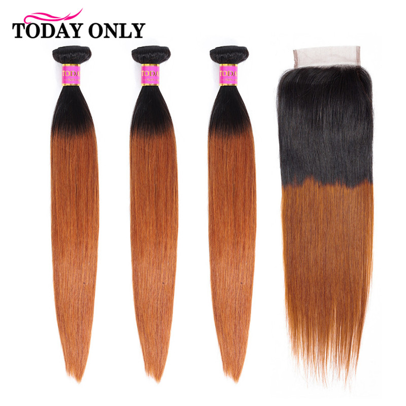 TODAY ONLY Peruvian Hair Bundles With Closure Ombre Straight Hair Bundles With Closure Remy Human Hair Bundles With Closure