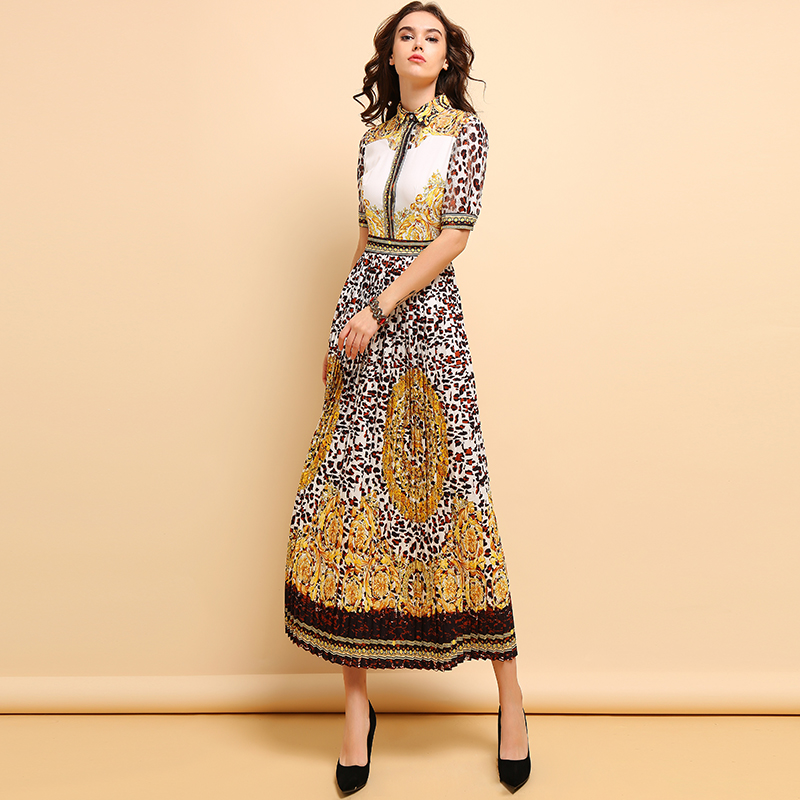 Baogarret Spring Summer Fashion Maxi Dress Women 39 s Vintage Leopard Printed Hollow Out Pleated Elegant Party Long Dresses in Dresses from Women 39 s Clothing
