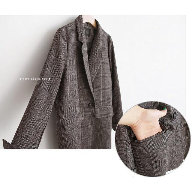 Spring Autumn Blazer Women  New Plaid Korean Jackets Long Sleeve Notched Vintage Casual Fashion Office Coats 6