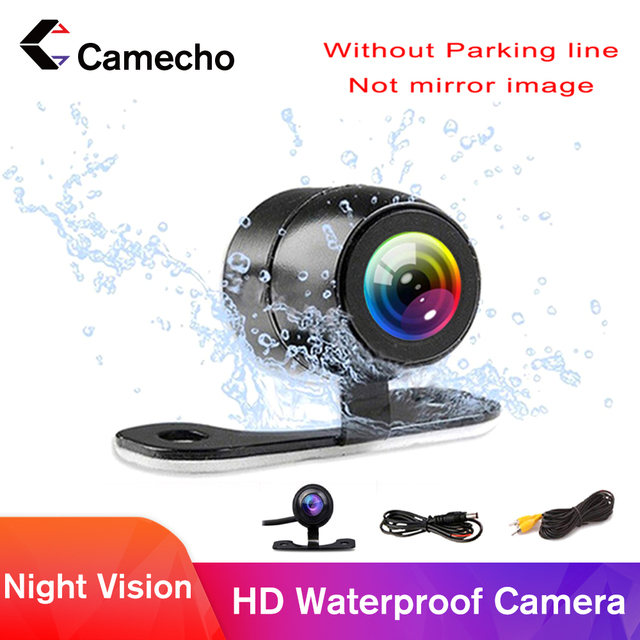 Camecho Vehicle Camera HD CCD Car Rear View Camera Rearview Back Parking Monitor Wide Degree Universal Auto Camera Night Vision