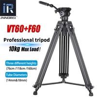 VT60 treppiede Video professionale fluido idraulico testa Video treppiede in alluminio per videocamera DSLR videocamera cursore DV carico 10kg