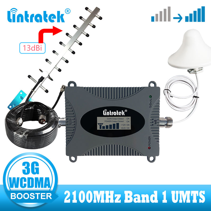 Lintratek  New Repeater 3G 2100MHz LCD Display Repetidor 3G Signal Amplifier 70dB Gain UMTS 2100 Signal Booster 3G 4G Antenna