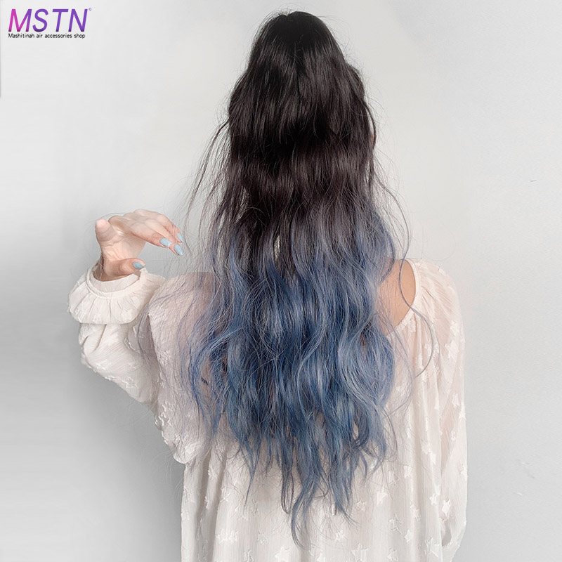 MSTN 60CM Long Curly Ponytail  Ombre Ponytail Wig Hairpin Synthetic Hair  Claw Clip In Hair Extension Headwear Smoky Blue