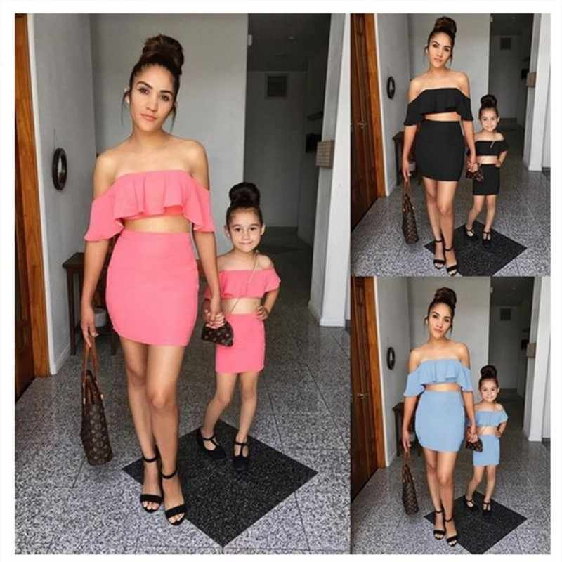 family matching outfits sexy mother and daughter clothes sets off shoulder shirt mini skirt set fashion mommy me tops clothes