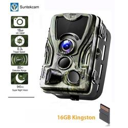 Suntekcam HC 801A 2019 najnowszy aparat polowania 16MP 64 GB aparat szlak IP65 zdjęcie pułapki 0.3 s wyzwalania czas 850nm dzikie kamera pułapka w Myśliwskie aparaty fot. od Sport i rozrywka na