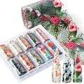 10 шт., наклейки для ногтей в виде листьев цветов, украшения для дизайна ногтей, наклейки для маникюра, Переводные обертывания, аксессуары ...