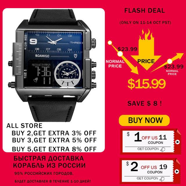 BOAMIGO brand men sports watches 3 time zone big man fashion military LED watch leather quartz wristwatches relogio masculino