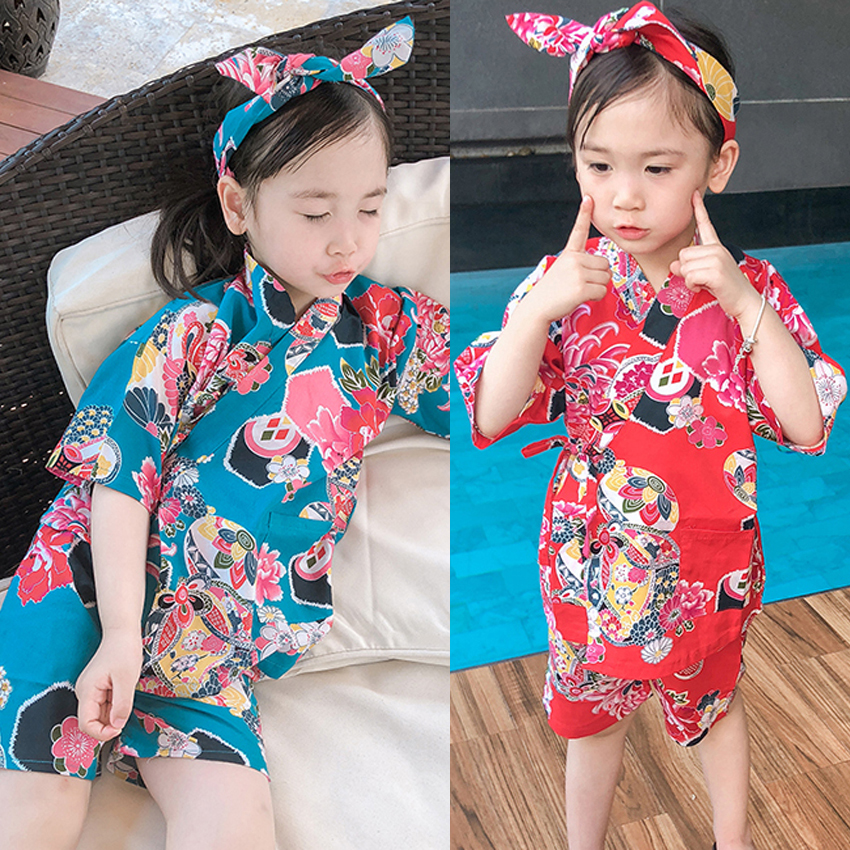 Harajuku Japanese Traditional Kimono For Girls Oriental Ethnic Kids Cotton Haori+shorts Set Bath Yukata Sleepwear Spa Clothing