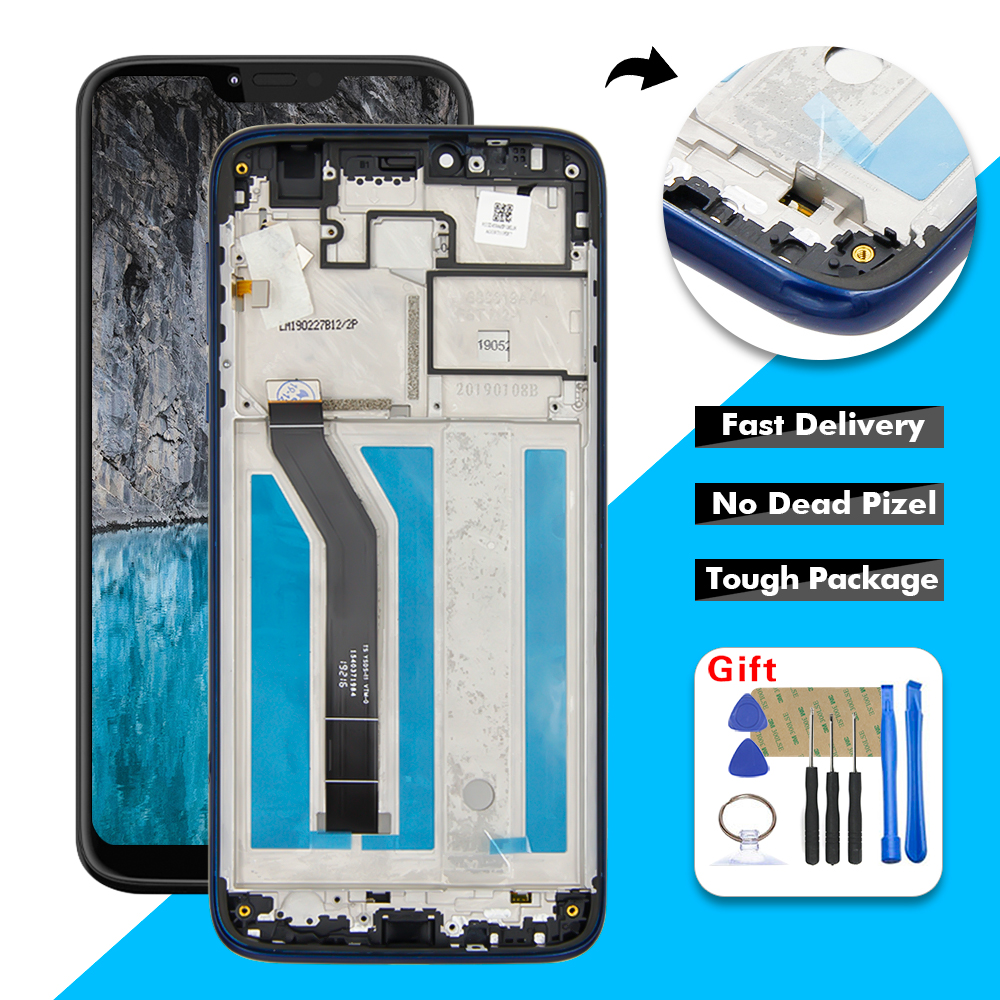 AAA+ LCD For Motorola Moto G7 Power XT1955-5 / 6 LCD Display Touch Screen Digitizer Glass Panel Assembly + Frame