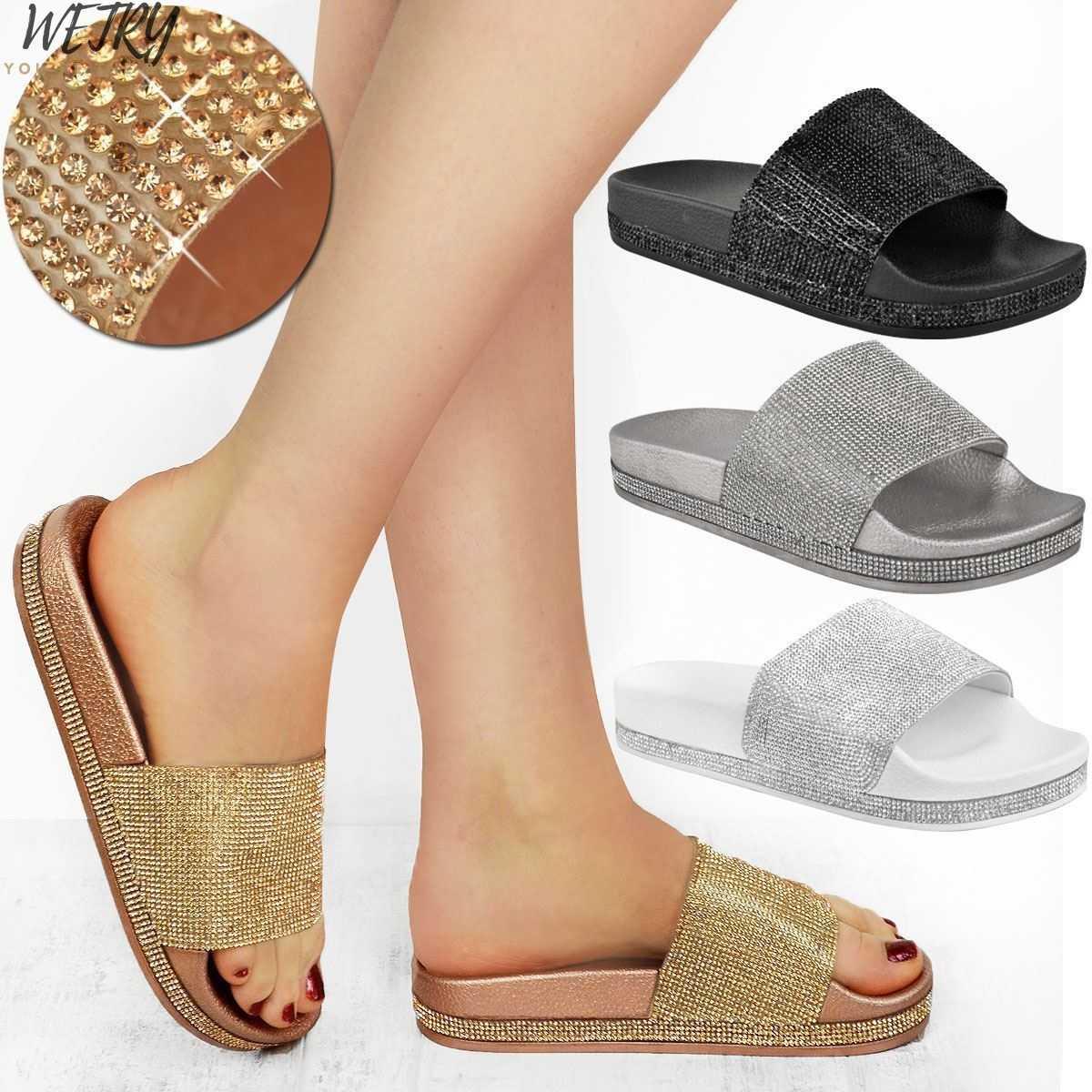 ผู้หญิงฤดูร้อน Glitter รองเท้าแตะ Soft Sole สไลด์รองเท้าผู้หญิงคริสตัล Bling ชายหาดรองเท้าแตะ Flip Flops