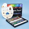 Набор акриловых красок с кисточкой 24 Цвета 12 мл для ткани одежды с пигменты для рукоделия Профессиональный картины художника