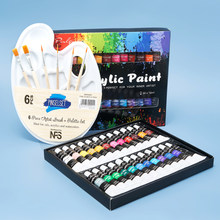 Acrylic Paint Set With Brush 24 Colors 12ml for Fabrics Painting Clothing Pigments Art Supplies Professional Artist Painting