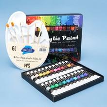 Ensemble de peinture acrylique avec pinceau, 24 couleurs, 12ml, pour tissus, peinture de vêtements, Pigments, fournitures artistiques professionnelles