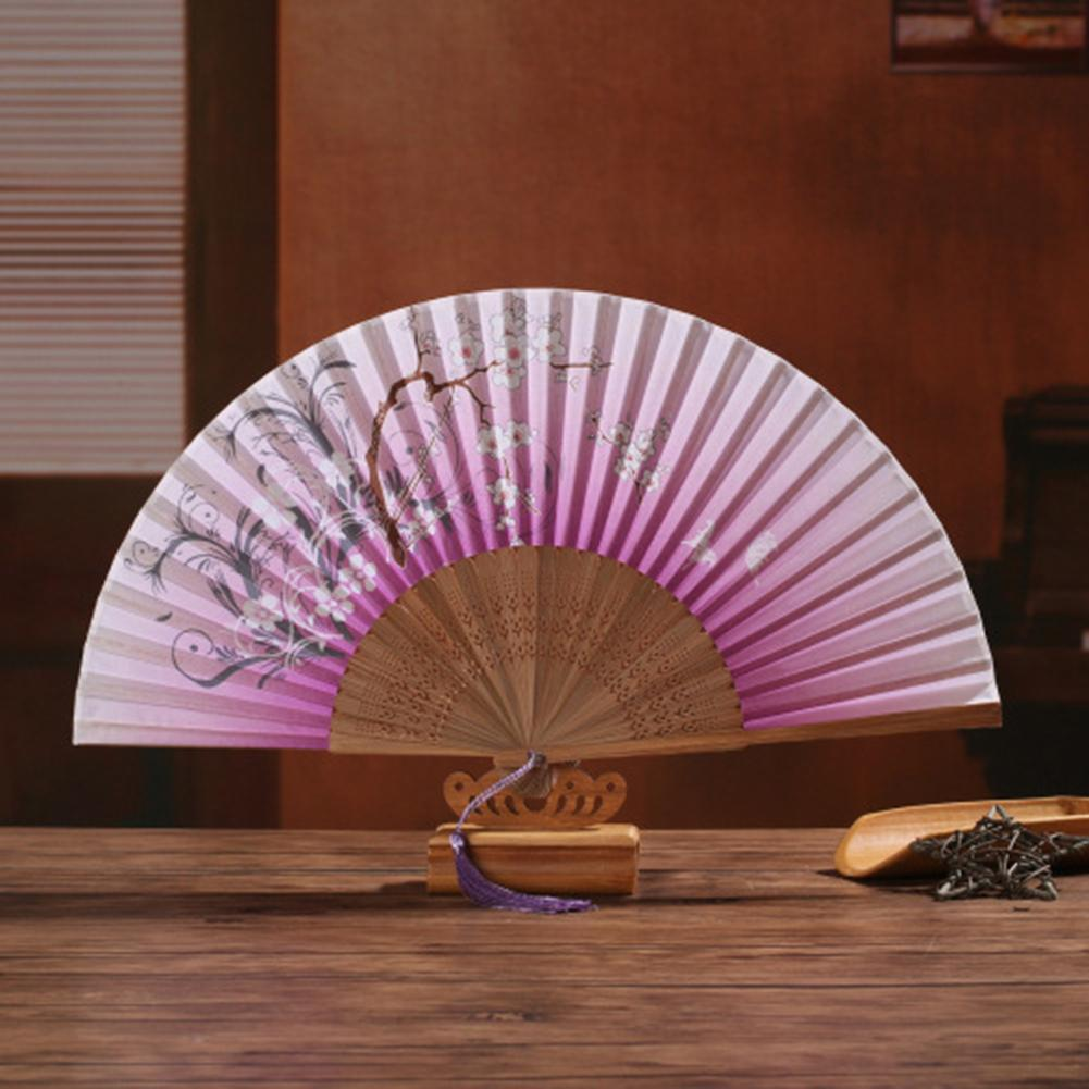 Japanese Bamboo Handfan Hand Held Folding Silk Fan with cherry blossom design