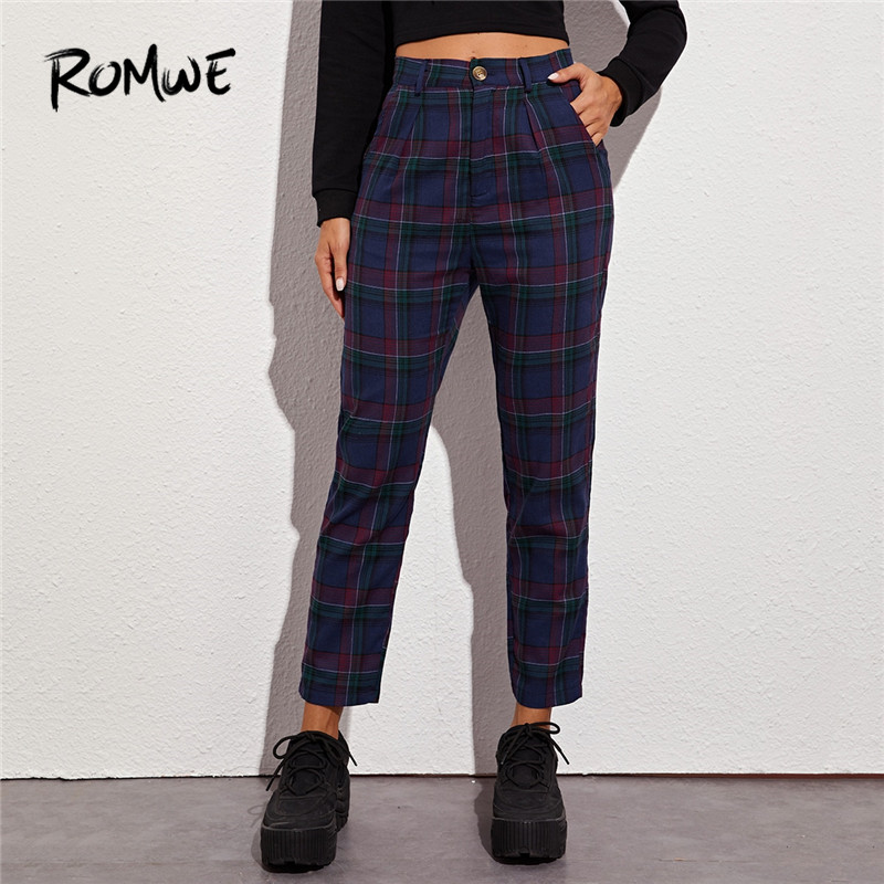 ROMWE Straight Leg Plaid Pants Women Casual High Waist Pants Spring England Style Zipper Fly Bottoms Ladies Crop Trousers