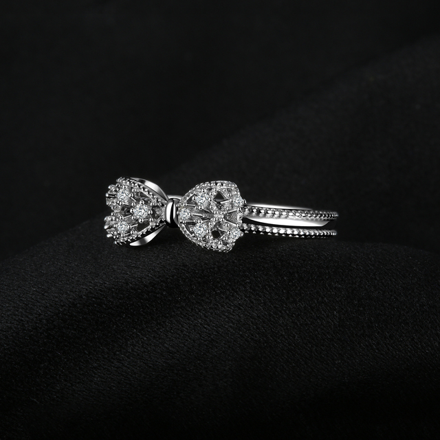 JewelryPalace Bow knot Anniversary Cubic Zirconia Rings 925 Sterling Silver Rings for Women Silver 925 Jewelry Fine Jewelry 2