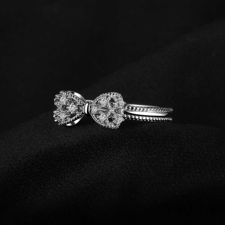 Jewelrypalace Busur Simpul Ulang Tahun Cubic Zirconia Cincin 925 Sterling Silver Cincin untuk Wanita Perak 925 Perhiasan Fine Jewelry