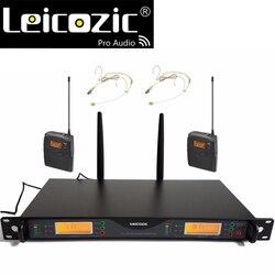 Leicozic U24D professional UHF PLL true diversity wireless microphone dual wireless microfono for stage 200 Channel headset Mics