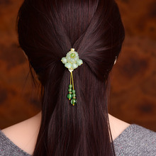 Natural Aventurine Ethnic Hairpin Barrettes Tassel Fashion Hair Accessories Women Hair Clip Gold Head Jewelry Ornaments цена и фото