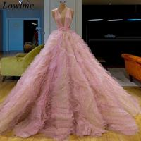 New Pink Couture Dubai Celebrity Dresses 2019 Long Halter Sexy Prom Dress Sleeveless Evening Party Gowns Kaftan Robe De Soiree