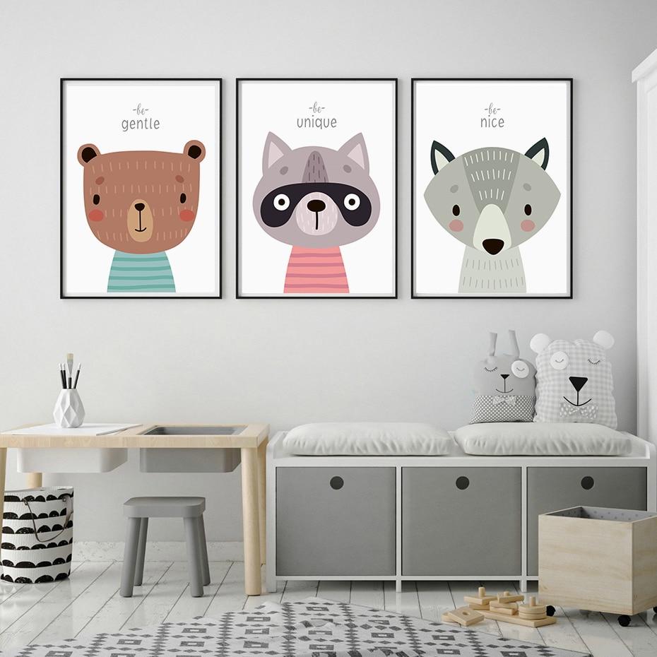 Woodland Animals Nursery Decor Wall Print personalised birth Record