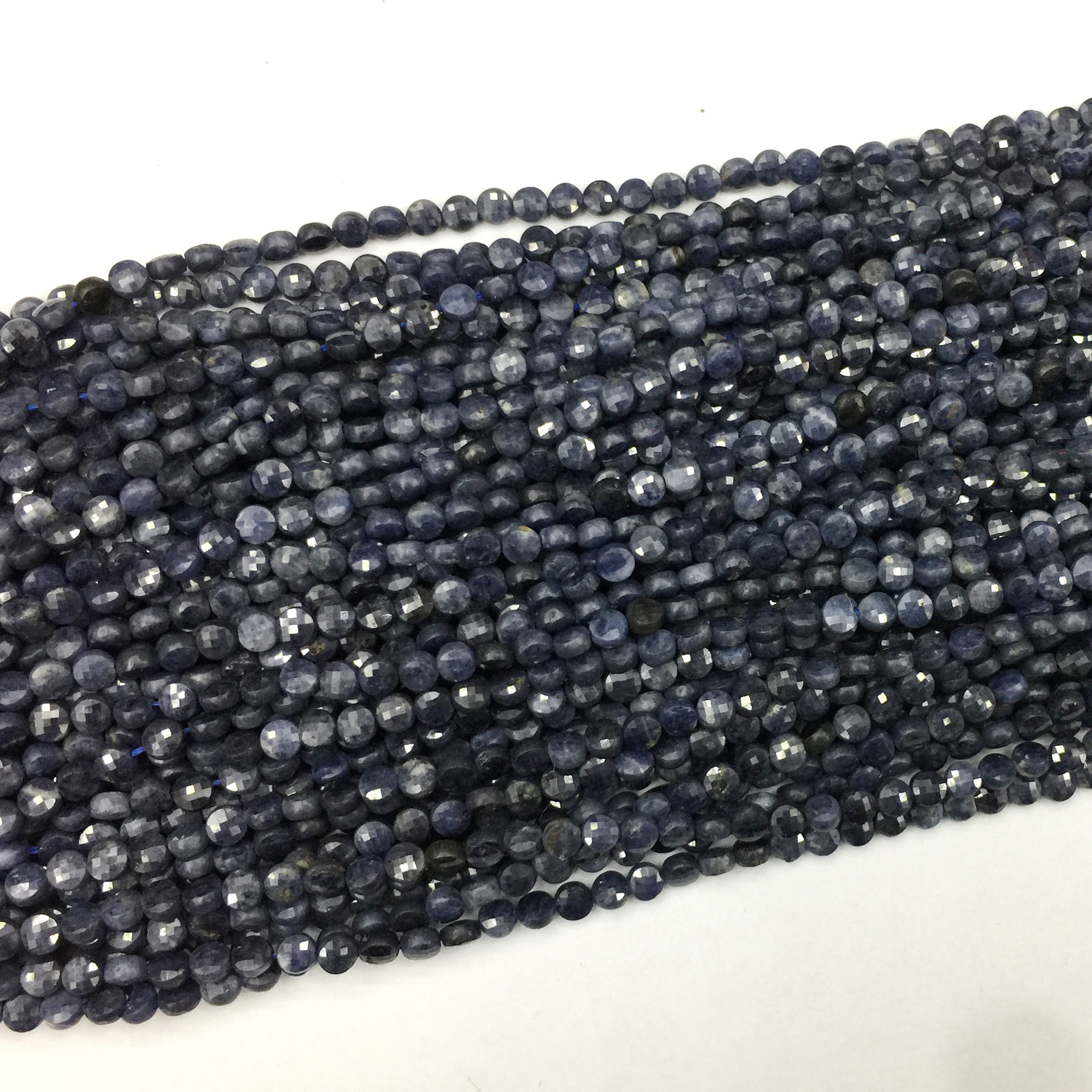 Genuine Natural Blue Sapphire Hand Cut Faceted Flat Coin Small Beads Necklaces Or Bracelets 4mm 06213