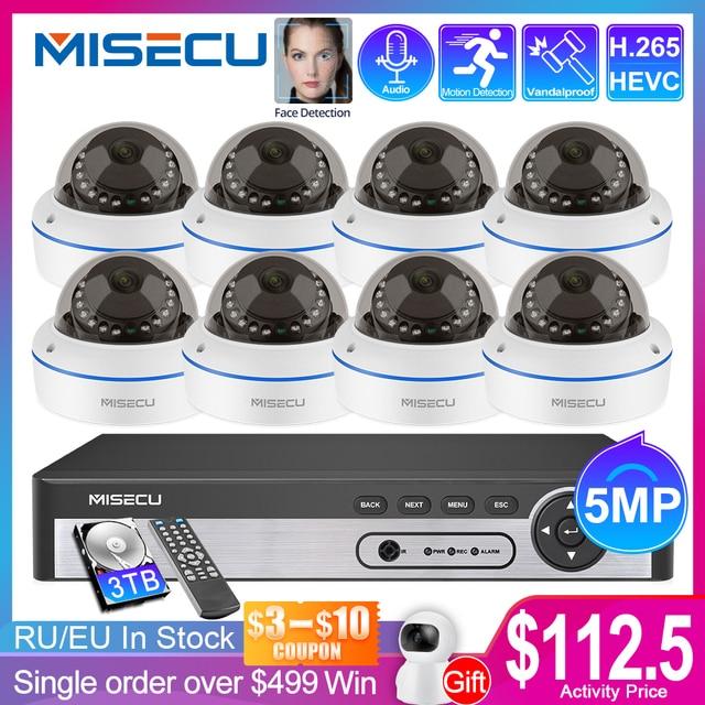 Misecu 8CH H.265 5.0MPセキュリティカメラシステムipドームカメラバンダルプルーフ屋内オーディオcctvカメラホームビデオ監視キット