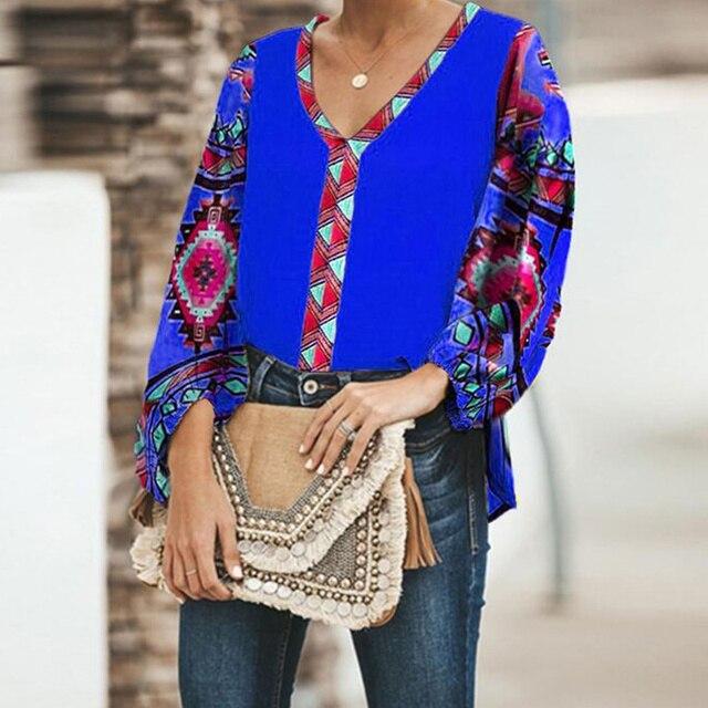 Women Printed Tops V Collar Long Sleeve Shirt Blouse Loose Casual Tops  JL 2