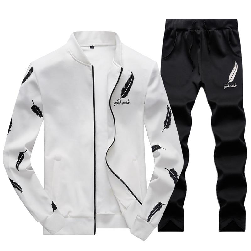 2019 Men Sportswear Hoodies Set Spring Suit Clothes Tracksuits Male Sweatshirts Coats Track Suits Joggers Plus Size Autumn