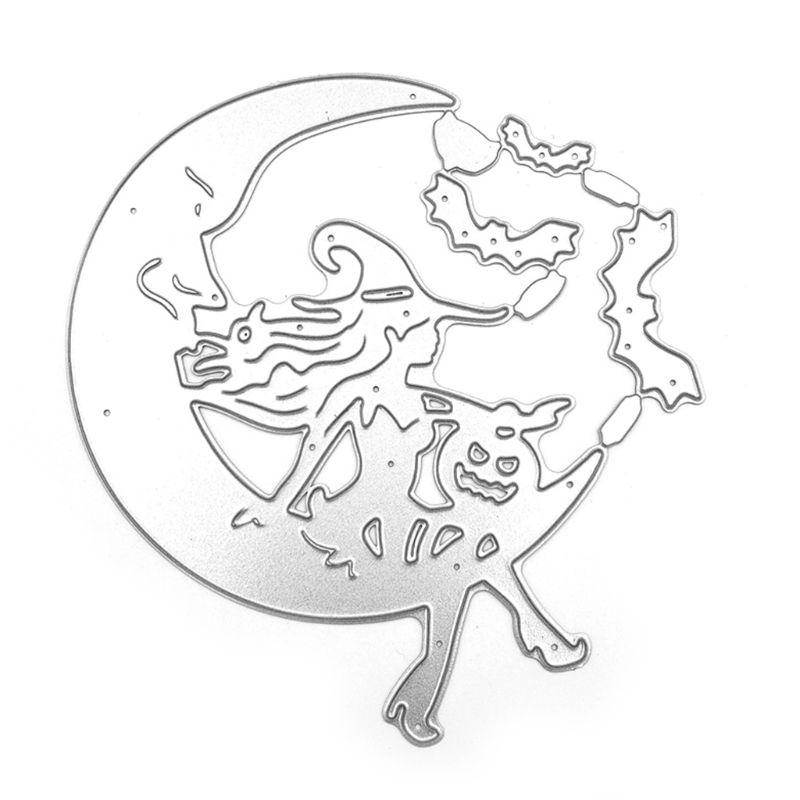 Halloween Ghost Pumpkin Witch on the Moon Metal Cutting Dies Stencil DIY Scrapbooking Album Stamp Paper Card Embossing Crafts
