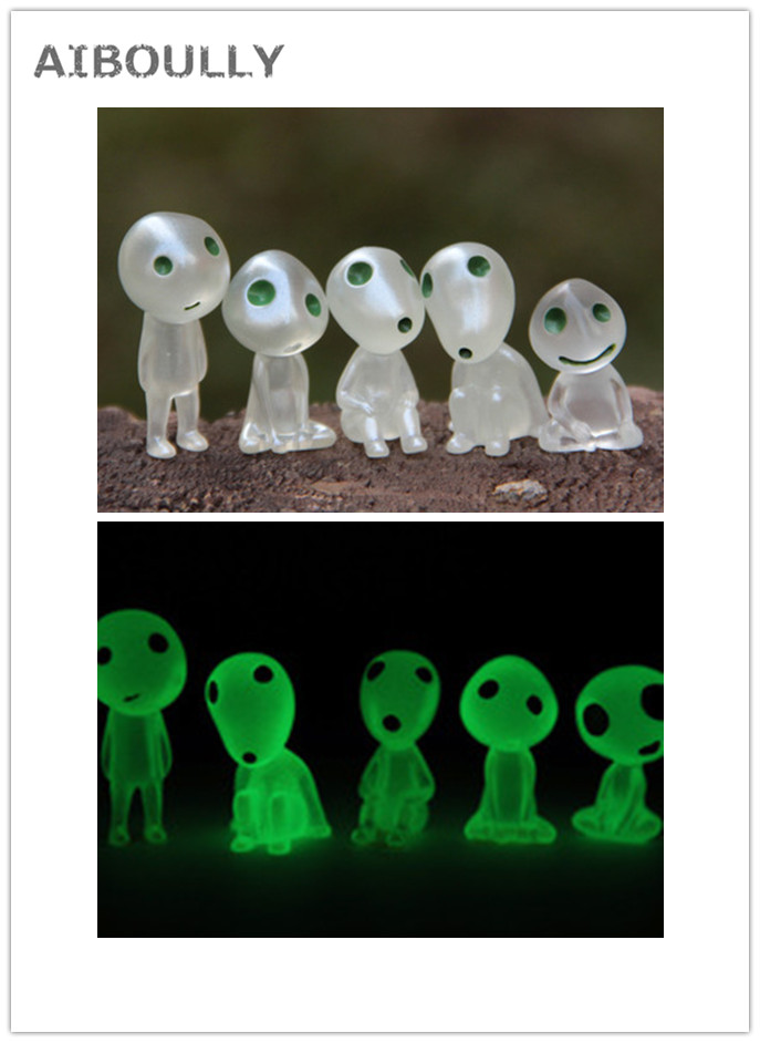 5Pcs/set Kawaii Luminous Tree Elves Toy Miyazaki Kodama Gardening Potted Fluorescent PVC Figure Tree Elf Fairy ( Randam Style )