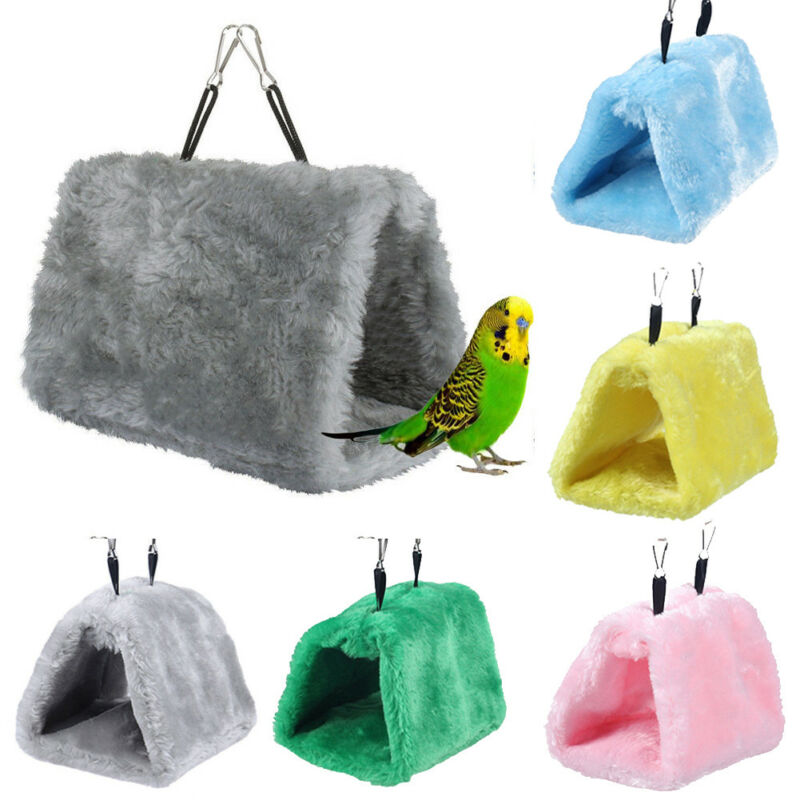 New Winter Sleep Pet Bird Pad Bunk Parrot Parakeet Budgie Warm Hammock Cage Hut Tent Bed Hanging Cave Plush Snuggle Happy Hut