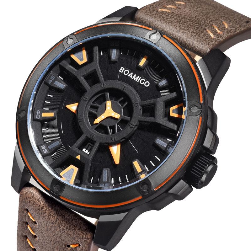 BOAMIGO Luxury Top Brand Men Sports Watches Creative Fashion Casual Quartz Leather Wrist Watch Auto Date Clock Relogio Masculino