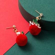 Инс прекрасные серьги Снеговики Ретро красный меховой шар Нерегулярные