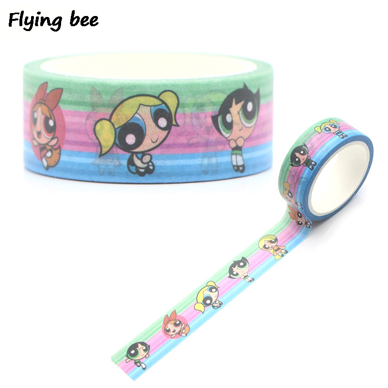 Flyingbee 15mmX5m The Powerpuff Girls Paper Washi Tape DIY Decorative Adhesive Tape Stationery Kawaii Masking Tapes X0296