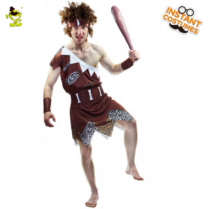 Ancient Adult Men Caveman Costume Classic Historic Caveman Adult Man Clothing Masquerade Carnival Party Traditional Caveman Suit