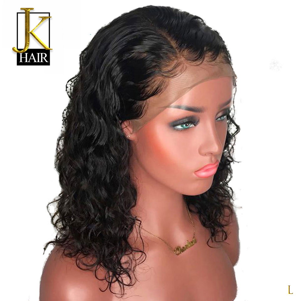 13*4 Brazilian Lace Front Human Hair Wigs For Black Women Remy Natural Wave Short Bob Wigs With Baby Hair Pre Plucked JK Hair