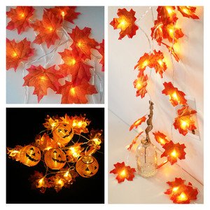 Artificial Flowers Maple Leaves Led String Light Garland Artificial Plant Wreath Fall Decoration for Home Fake Leaf Autumn Decor
