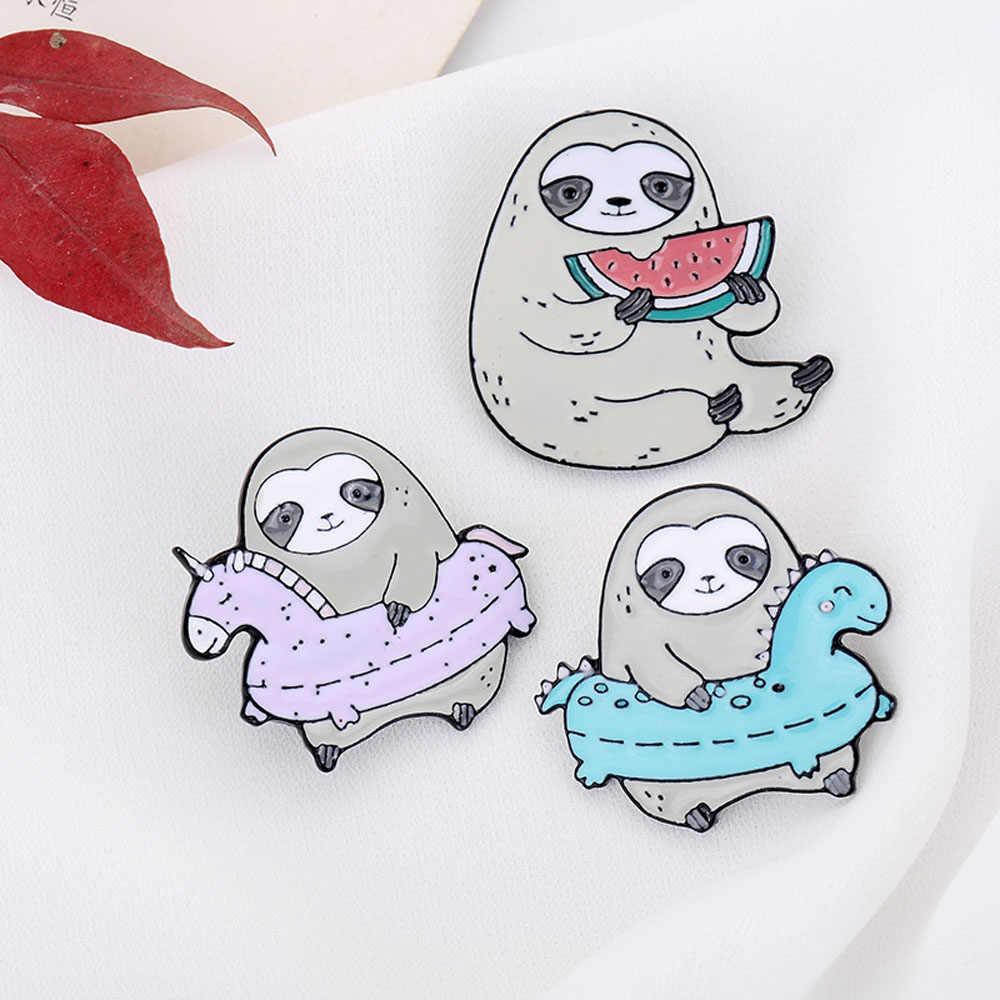 Lucu Lucu Sloth Enamel Pin Malas Kartun Hewan Sloth Enamel Pin Lencana Bros untuk Wanita Kemeja Denim Tas Cute Perhiasan