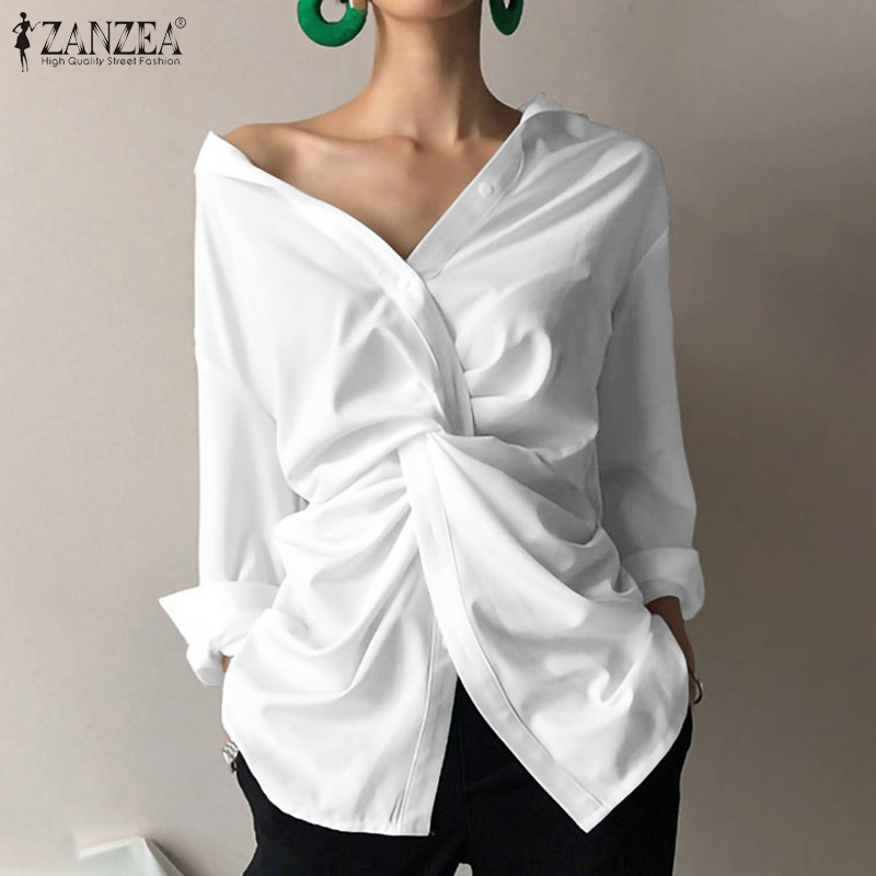 ZANZEA Fashion Women's Asymmetrical Blouse Casual Long Sleeve Shirts Female Lapel Tops Summer Blusas Tunic Tops Plus Size