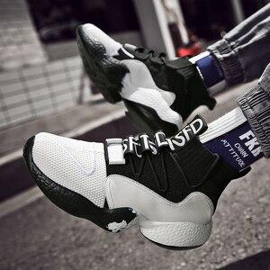 Image 4 - גבוהה למעלה גברים סניקרס לסרוג עליון מזדמנים גרב נעלי נשים עבה בלעדי אופנה שחור/לבן גדול גודל 47 48 Mens נעלי הליכה