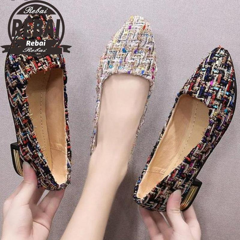 Women Pointed Toe Pumps Ladies Metal Slip On Plaid Low Square Heels Female Fashion Casual Office Shoes Plus Size Bigtree Shoes